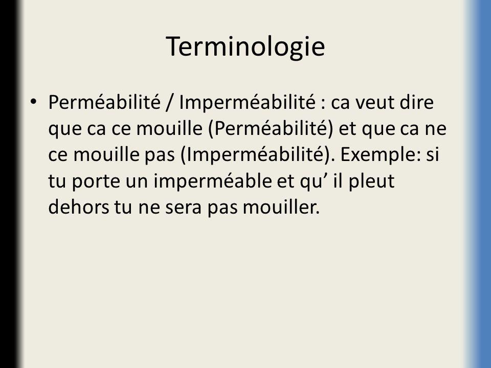 Terminologie Perméabilité / Imperméabilité : ca veut dire que ca ce mouille (Perméabilité) et que ca ne ce mouille pas (Imperméabilité). Exemple: si t