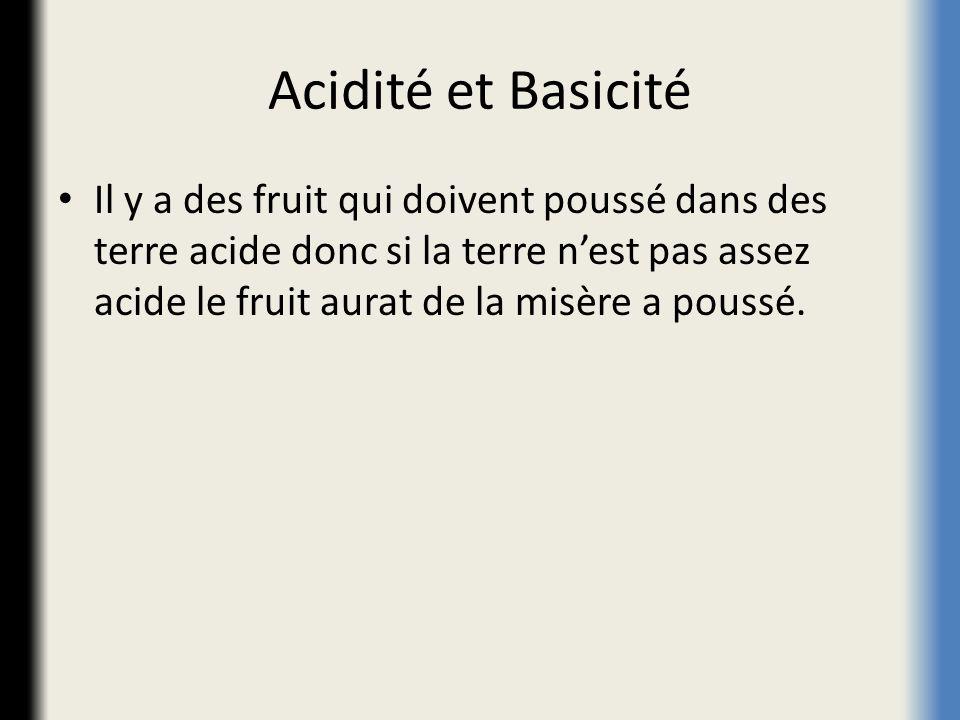 Acidité et Basicité Il y a des fruit qui doivent poussé dans des terre acide donc si la terre nest pas assez acide le fruit aurat de la misère a pouss