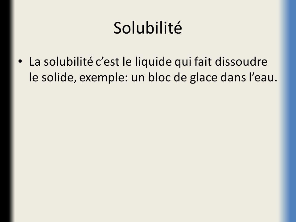 Solubilité La solubilité cest le liquide qui fait dissoudre le solide, exemple: un bloc de glace dans leau.