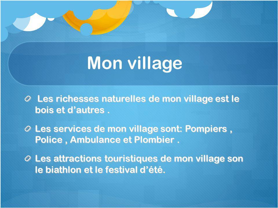 Mon village Les richesses naturelles de mon village est le bois et dautres.