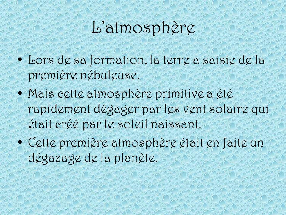 Latmosphère Lors de sa formation, la terre a saisie de la première nébuleuse. Mais cette atmosphère primitive a été rapidement dégager par les vent so