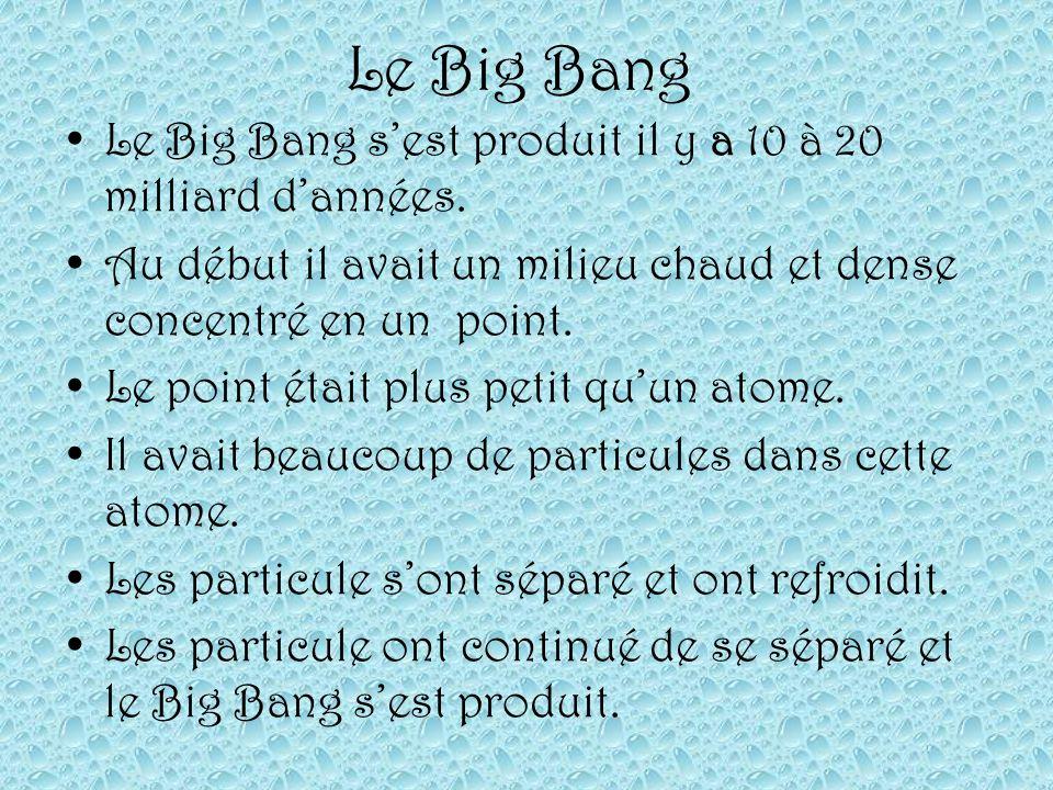 Le Big Bang Le Big Bang sest produit il y a 10 à 20 milliard dannées. Au début il avait un milieu chaud et dense concentré en un point. Le point était