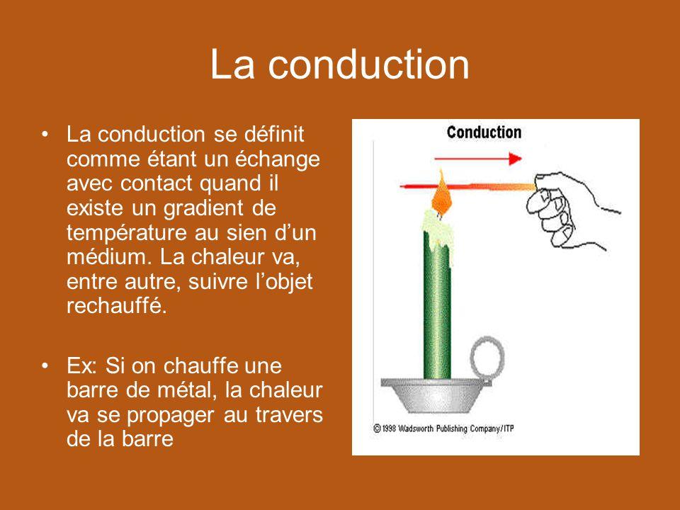 La conduction La conduction se définit comme étant un échange avec contact quand il existe un gradient de température au sien dun médium. La chaleur v