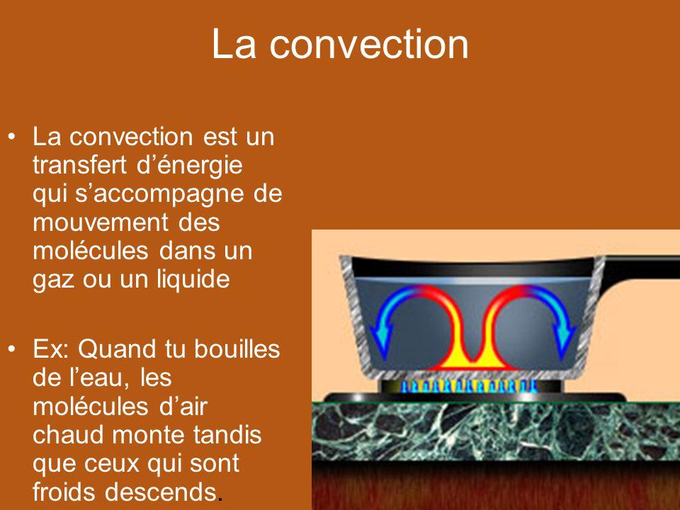 La convection La convection est un transfert dénergie qui saccompagne de mouvement des molécules dans un gaz ou un liquide Ex: Quand tu bouilles de le