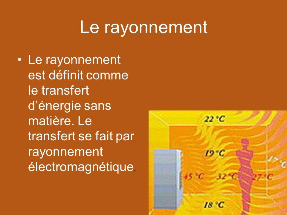 Le rayonnement Le rayonnement est définit comme le transfert dénergie sans matière. Le transfert se fait par rayonnement électromagnétique.