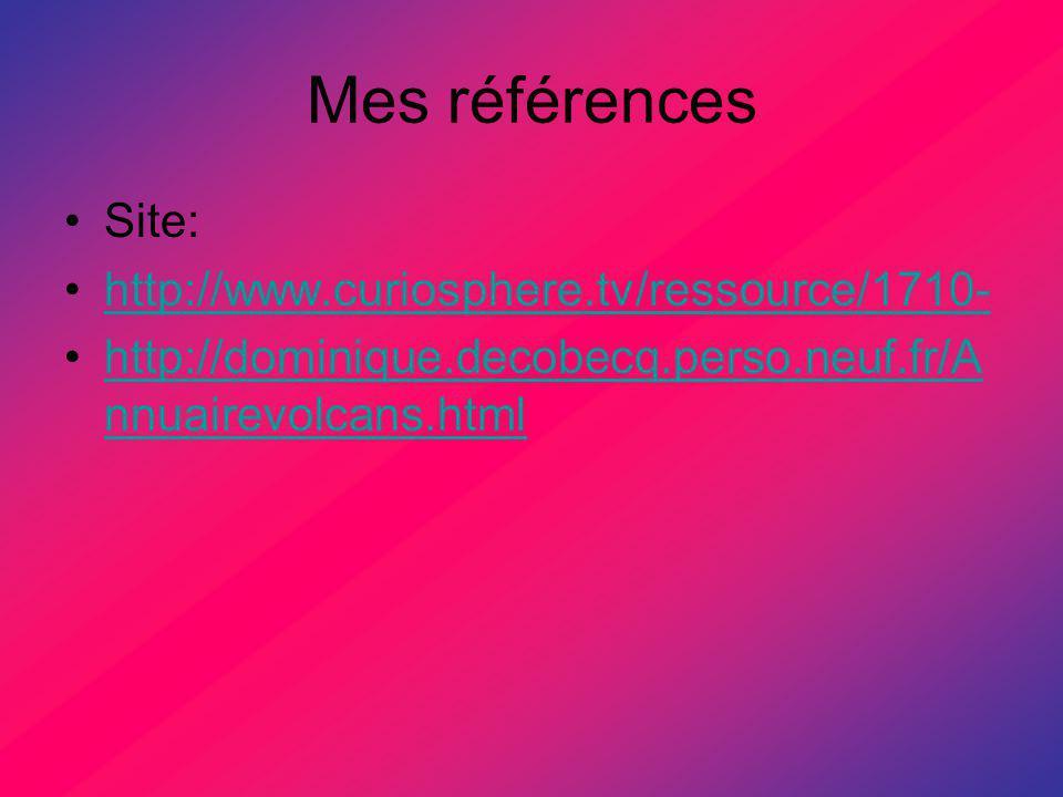 Mes références Site: http://www.curiosphere.tv/ressource/1710- http://dominique.decobecq.perso.neuf.fr/A nnuairevolcans.htmlhttp://dominique.decobecq.