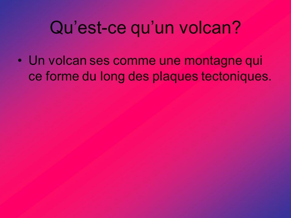 Comment se forme les volcans? Il y a 95% des volcans qui ce forme le long des plaques tectoniques.