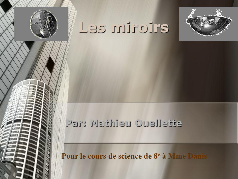 Les miroirs Par: Mathieu Ouellette Pour le cours de science de 8 e à Mme Danis