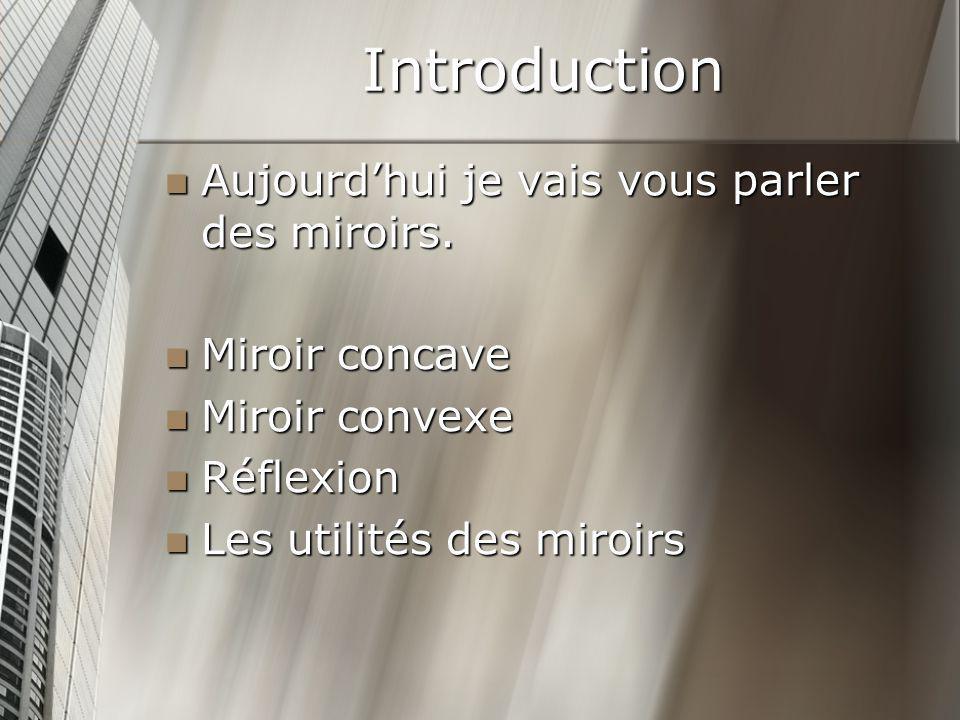 Introduction Aujourdhui je vais vous parler des miroirs. Aujourdhui je vais vous parler des miroirs. Miroir concave Miroir concave Miroir convexe Miro