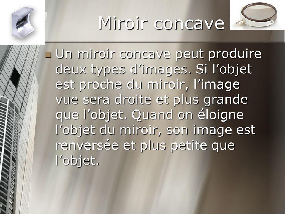 Miroir concave Un miroir concave peut produire deux types dimages. Si lobjet est proche du miroir, limage vue sera droite et plus grande que lobjet. Q