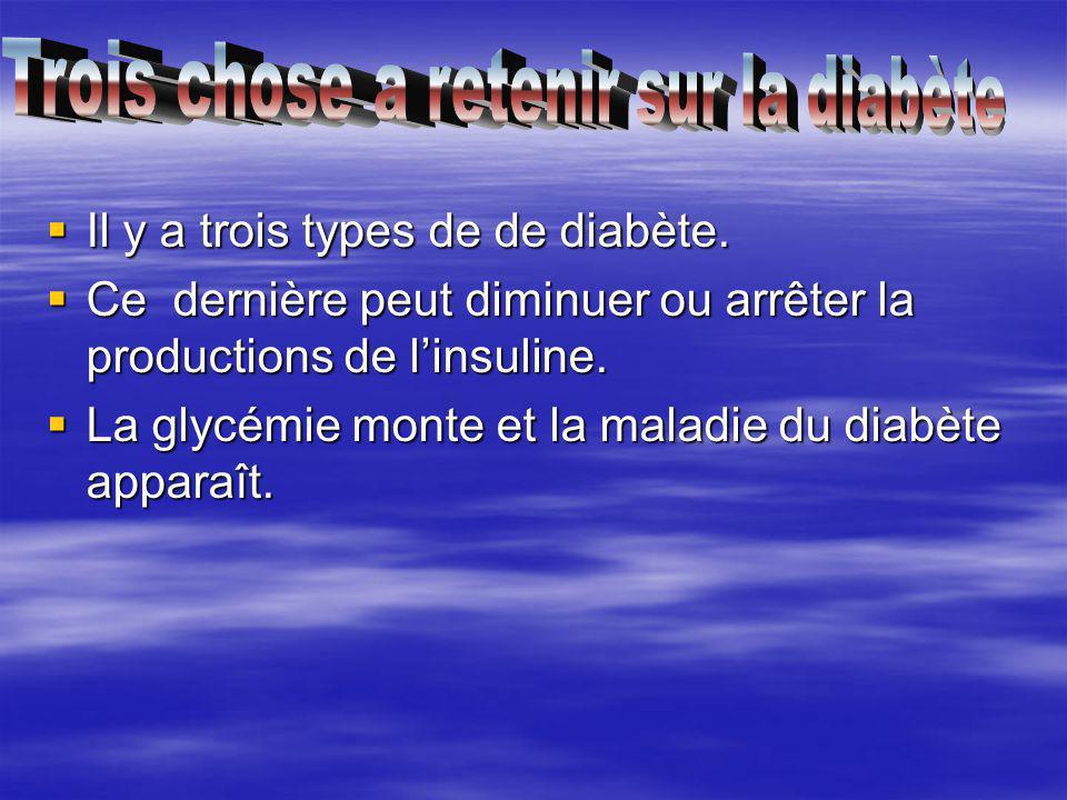Il y a trois types de de diabète. Il y a trois types de de diabète. Ce dernière peut diminuer ou arrêter la productions de linsuline. Ce dernière peut