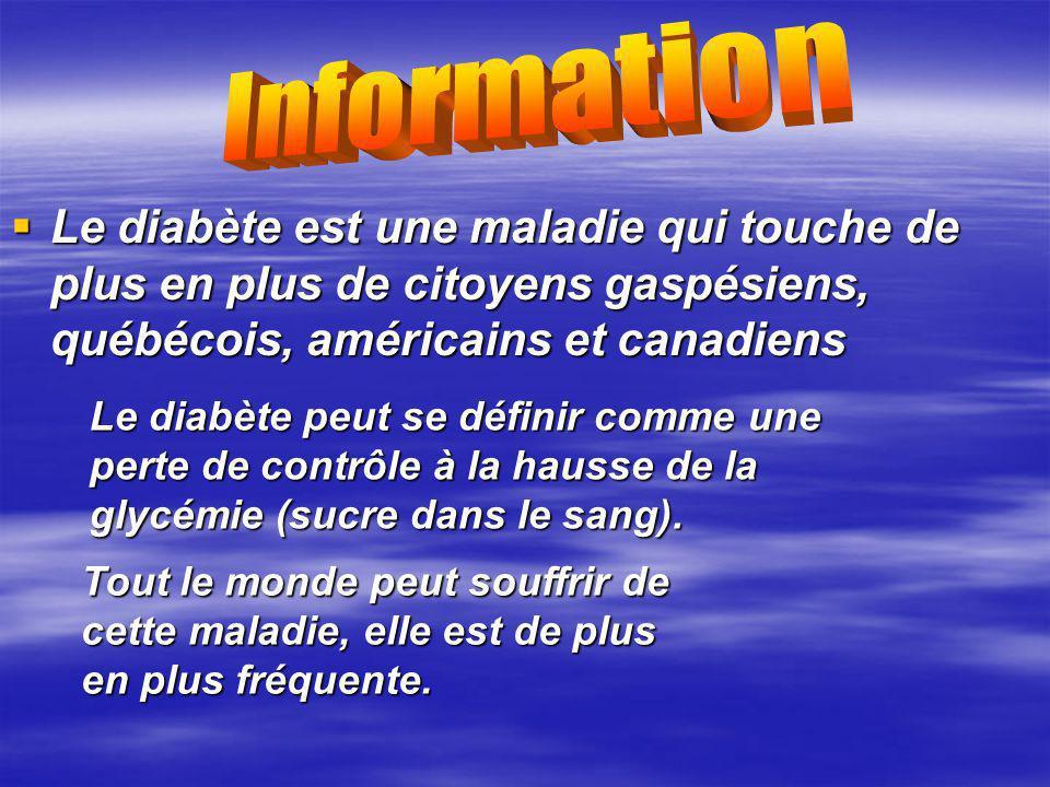 Le diabète est une maladie qui touche de plus en plus de citoyens gaspésiens, québécois, américains et canadiens Le diabète est une maladie qui touche de plus en plus de citoyens gaspésiens, québécois, américains et canadiens Le diabète peut se définir comme une perte de contrôle à la hausse de la glycémie (sucre dans le sang).