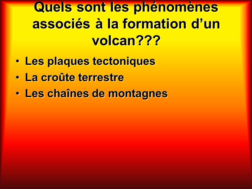 Quels sont les phénomènes associés à la formation dun volcan??? Les plaques tectoniquesLes plaques tectoniques La croûte terrestreLa croûte terrestre