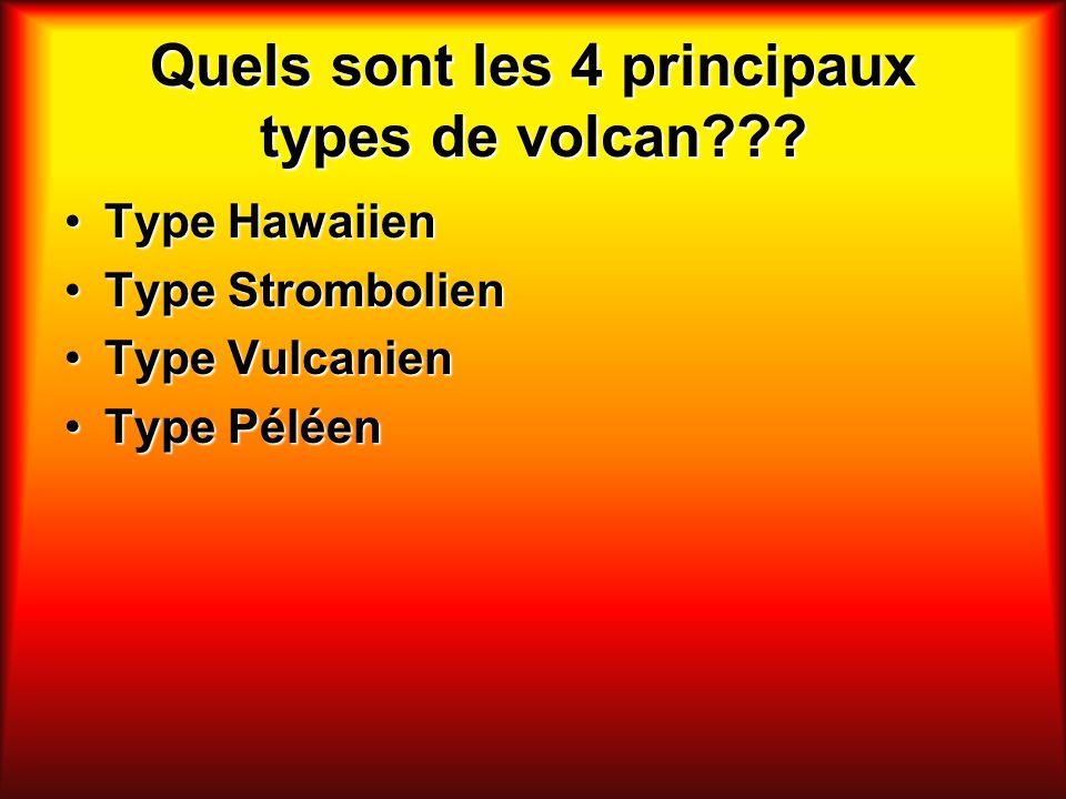Quels sont les 4 principaux types de volcan??? Type HawaiienType Hawaiien Type StrombolienType Strombolien Type VulcanienType Vulcanien Type PéléenTyp