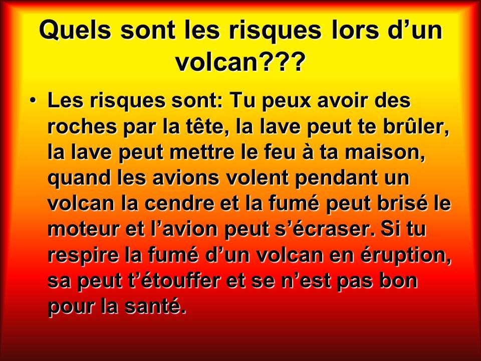 Quels sont les risques lors dun volcan??? Les risques sont: Tu peux avoir des roches par la tête, la lave peut te brûler, la lave peut mettre le feu à
