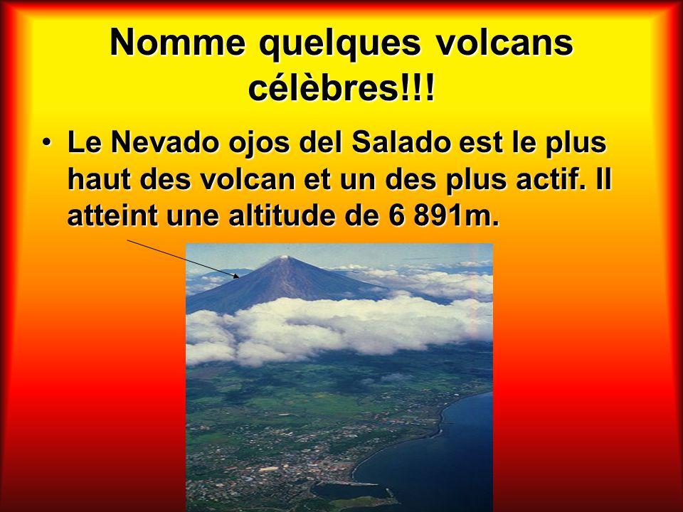 Nomme quelques volcans célèbres!!! Le Nevado ojos del Salado est le plus haut des volcan et un des plus actif. Il atteint une altitude de 6 891m.Le Ne