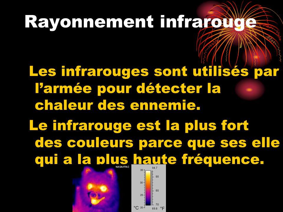 Rayonnement infrarouge Les infrarouges sont utilisés par larmée pour détecter la chaleur des ennemie. Le infrarouge est la plus fort des couleurs parc