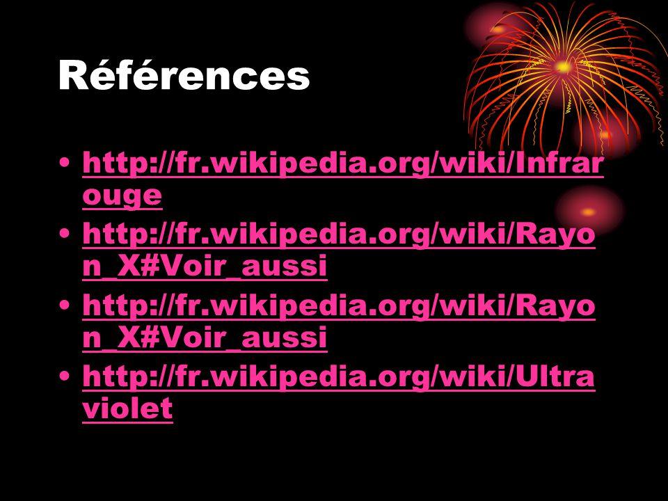 Références http://fr.wikipedia.org/wiki/Infrar ougehttp://fr.wikipedia.org/wiki/Infrar ouge http://fr.wikipedia.org/wiki/Rayo n_X#Voir_aussihttp://fr.wikipedia.org/wiki/Rayo n_X#Voir_aussi http://fr.wikipedia.org/wiki/Rayo n_X#Voir_aussihttp://fr.wikipedia.org/wiki/Rayo n_X#Voir_aussi http://fr.wikipedia.org/wiki/Ultra violethttp://fr.wikipedia.org/wiki/Ultra violet
