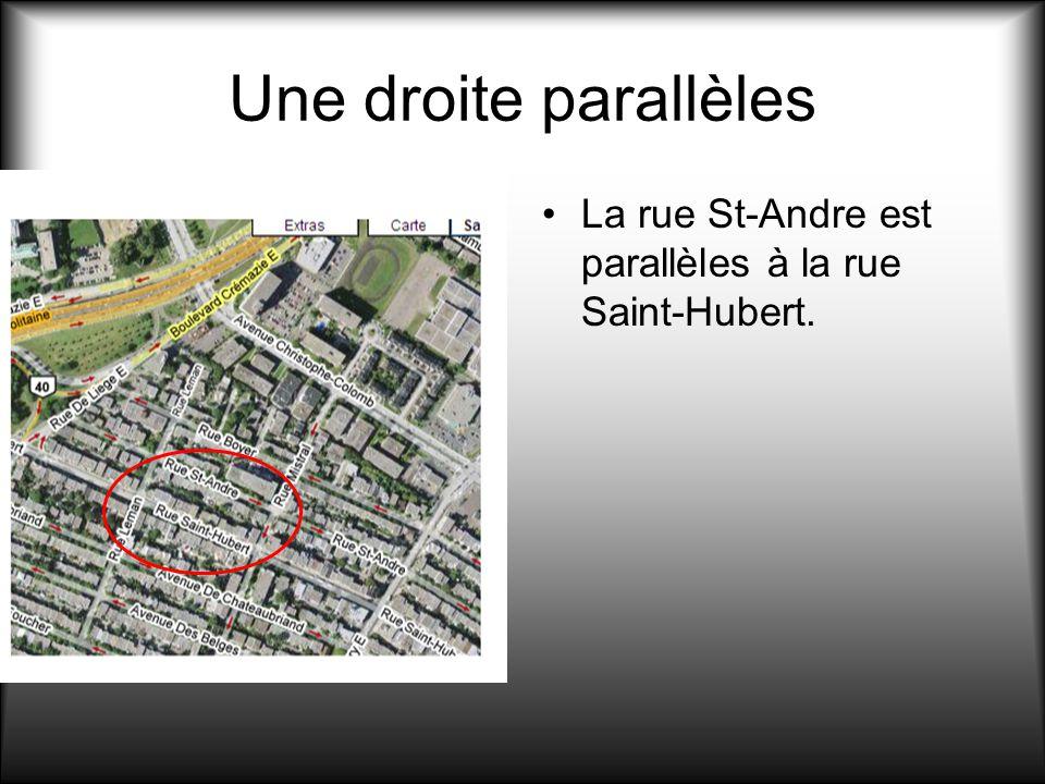 Une droite parallèles La rue St-Andre est parallèles à la rue Saint-Hubert.