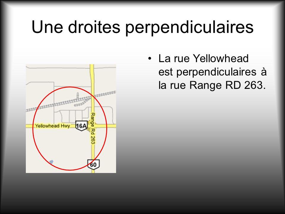 Une droites perpendiculaires La rue Yellowhead est perpendiculaires à la rue Range RD 263.