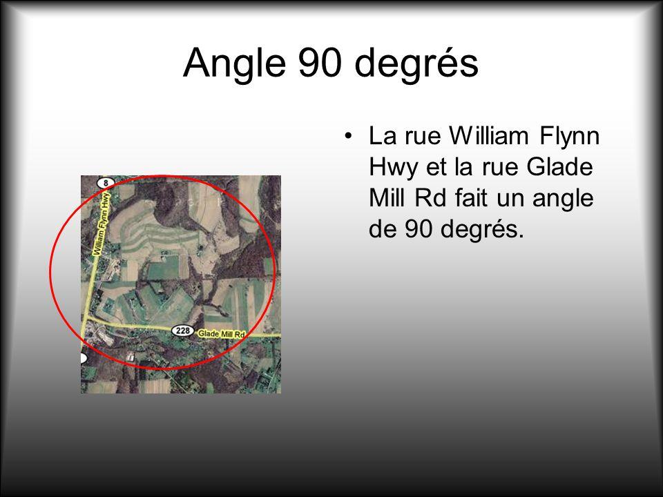 Angle 90 degrés La rue William Flynn Hwy et la rue Glade Mill Rd fait un angle de 90 degrés.