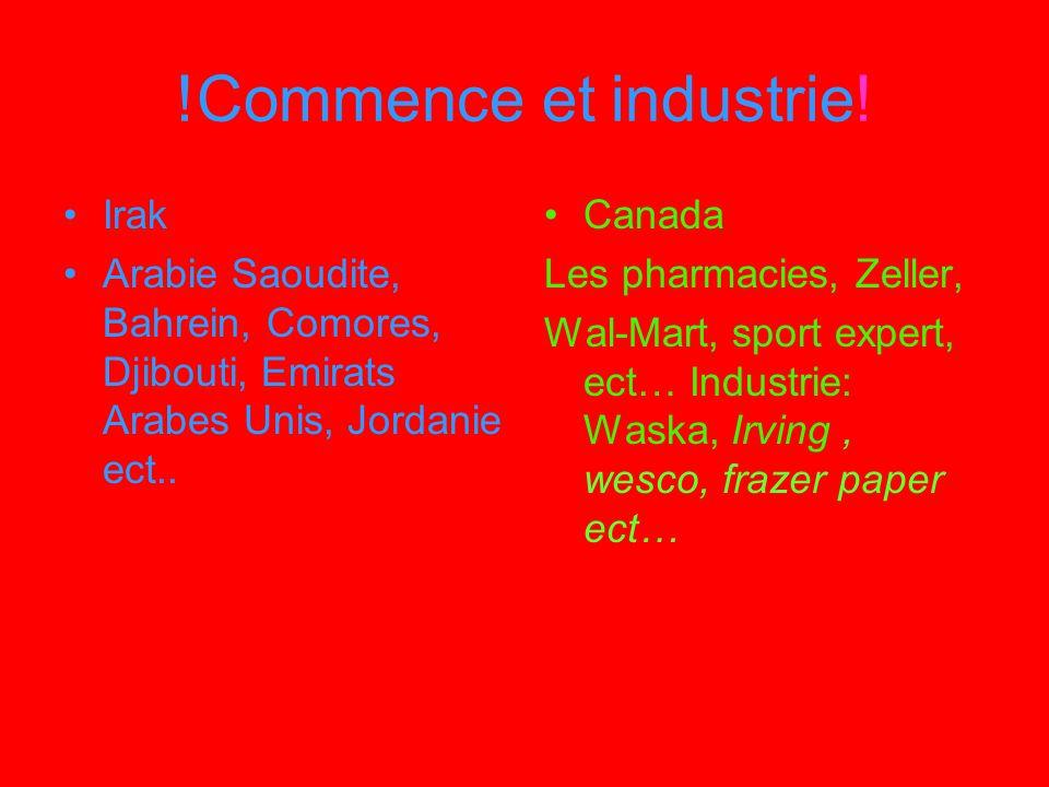 !Commence et industrie! Irak Arabie Saoudite, Bahrein, Comores, Djibouti, Emirats Arabes Unis, Jordanie ect.. Canada Les pharmacies, Zeller, Wal-Mart,