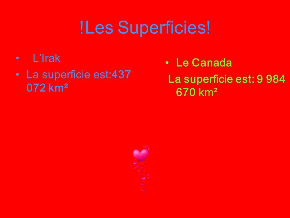 !Les Superficies! Le Canada La superficie est: 9 984 670 km² LIrak La superficie est:437 072 km²