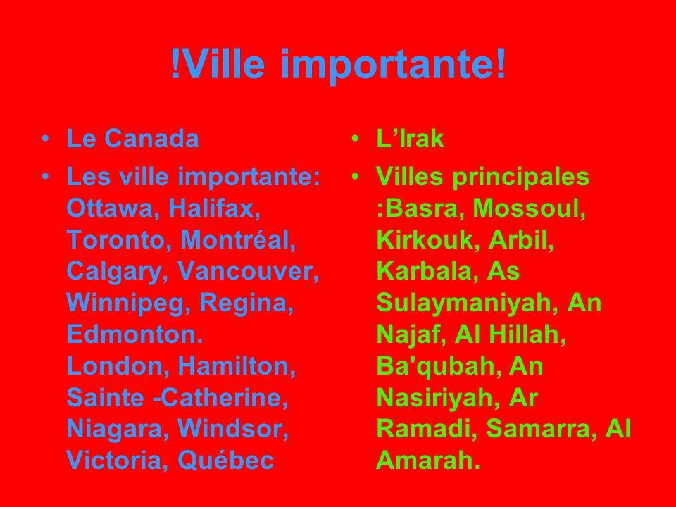 !Langue! Canada anglais et français (population bilingue : 15%) LIrak arabe classique.