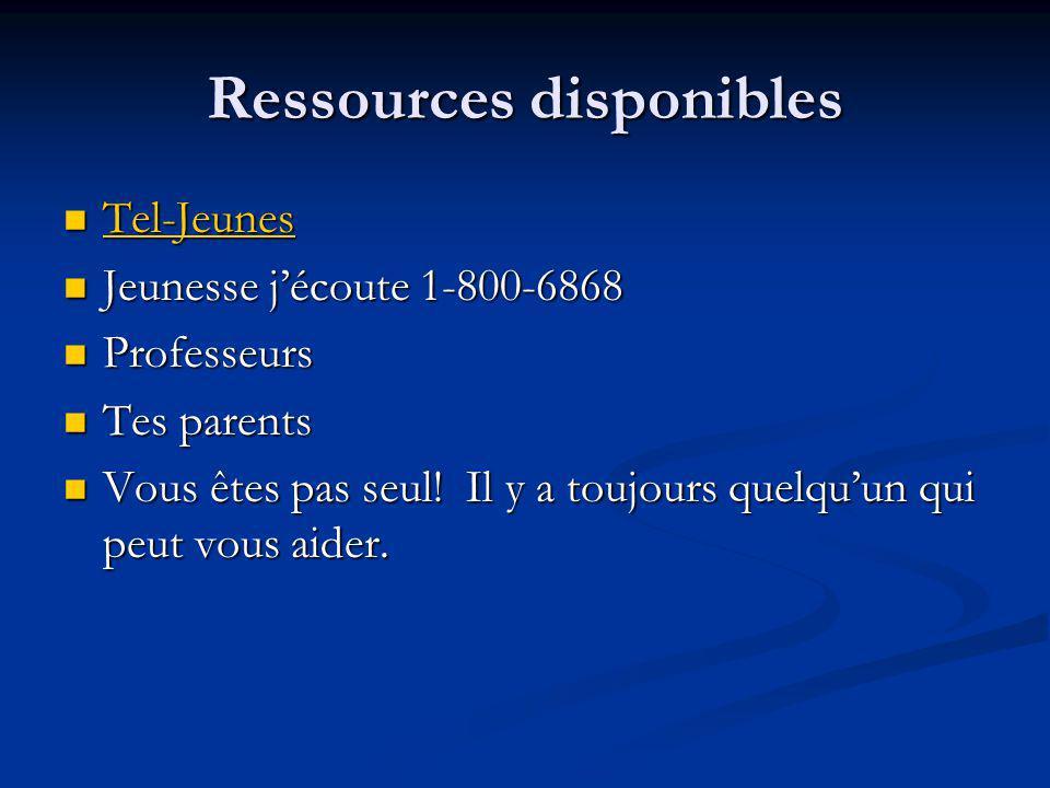 Ressources disponibles Tel-Jeunes Tel-Jeunes Tel-Jeunes Jeunesse jécoute 1-800-6868 Jeunesse jécoute 1-800-6868 Professeurs Professeurs Tes parents Te
