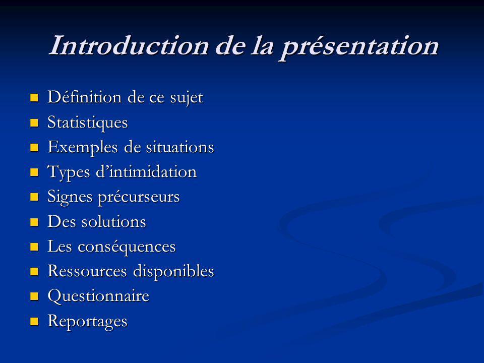 Introduction de la présentation Définition de ce sujet Statistiques Exemples de situations Types dintimidation Signes précurseurs Des solutions Les co