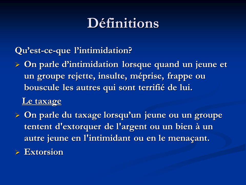 Définitions Quest-ce-que lintimidation? On parle dintimidation lorsque quand un jeune et un groupe rejette, insulte, méprise, frappe ou bouscule les a