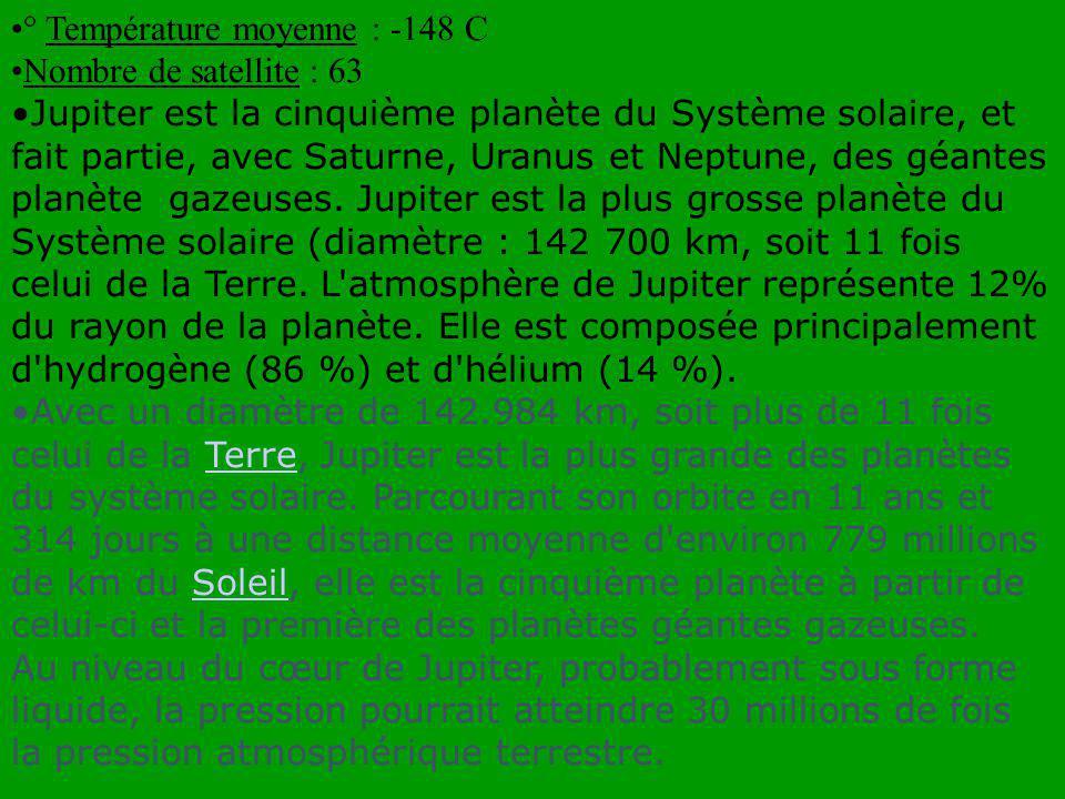 Les satellites mineurs internes SatelliteDistance (000)km Rayon (km) Masse (km) Découver t par Date Métis128209.56e16 Synnott 1979 Adrastée 129101.91e16Jewitt1979 Amalthé 181987.17e18 Barnard 1882 Thébé222507.77e17 Synnott 1979