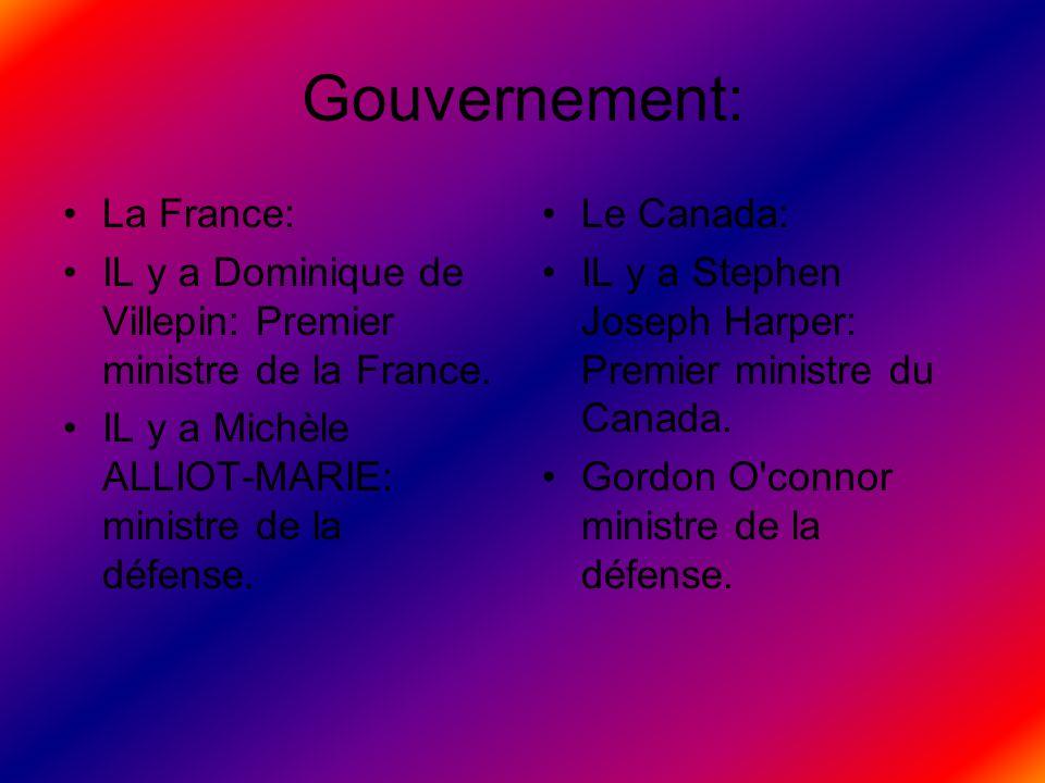 Gouvernement: La France: IL y a Dominique de Villepin: Premier ministre de la France. IL y a Michèle ALLIOT-MARIE: ministre de la défense. Le Canada: