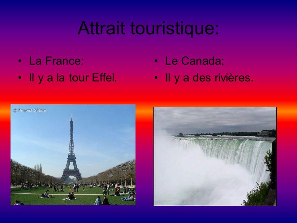 Attrait touristique: La France: Il y a la tour Effel. Le Canada: Il y a des rivières.