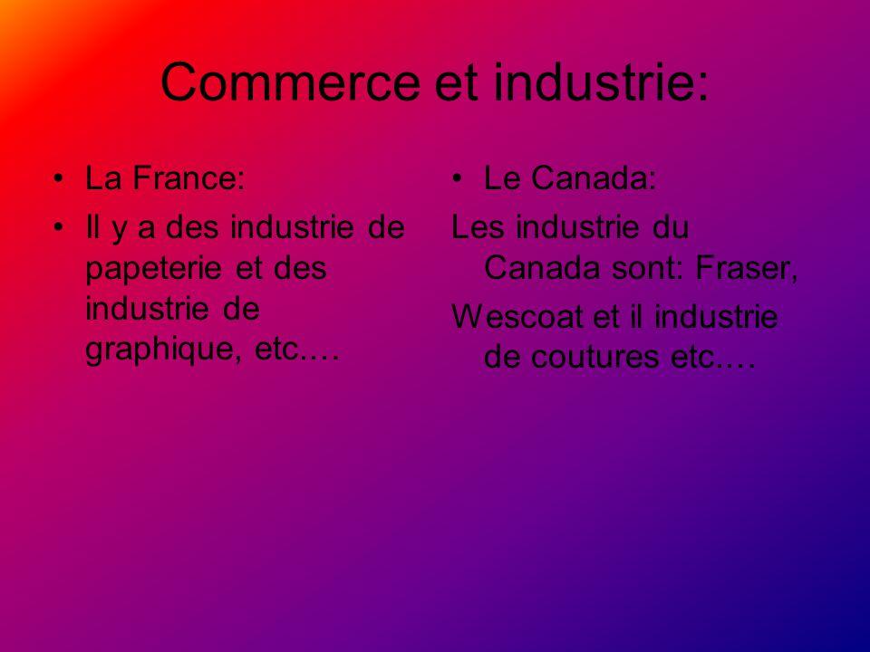 Commerce et industrie: La France: Il y a des industrie de papeterie et des industrie de graphique, etc.… Le Canada: Les industrie du Canada sont: Fras