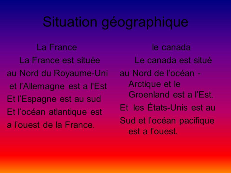 Situation géographique La France La France est située au Nord du Royaume-Uni et lAllemagne est a lEst Et lEspagne est au sud Et locéan atlantique est