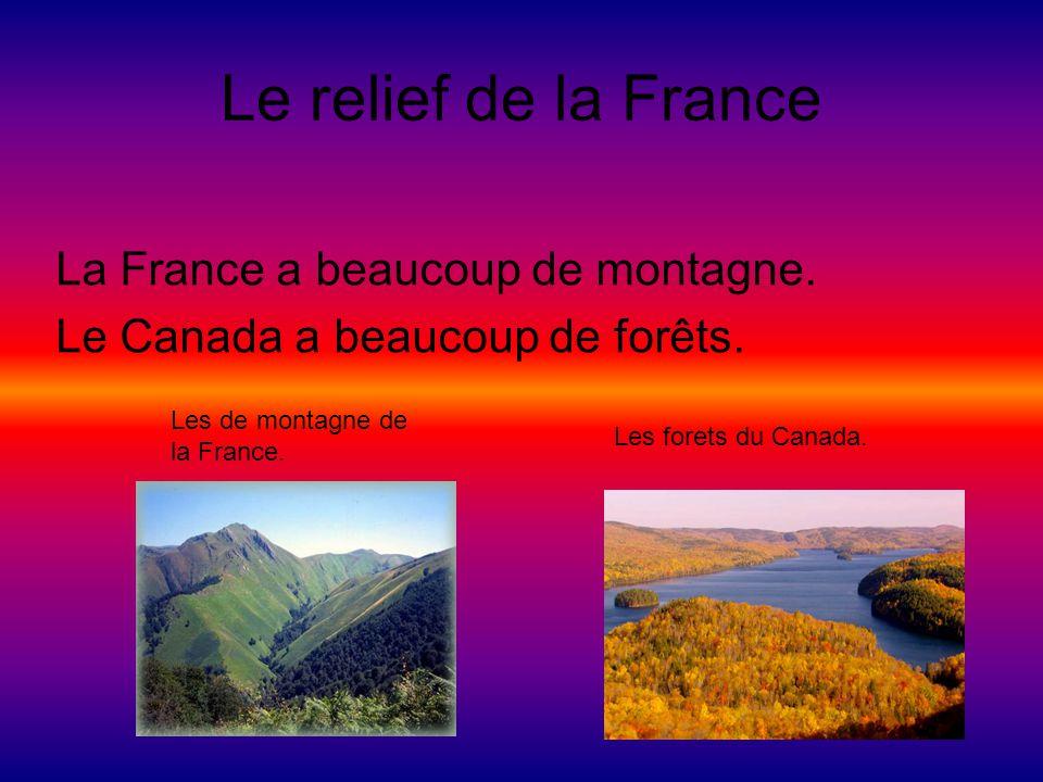 Le relief de la France La France a beaucoup de montagne. Le Canada a beaucoup de forêts. Les de montagne de la France. Les forets du Canada.