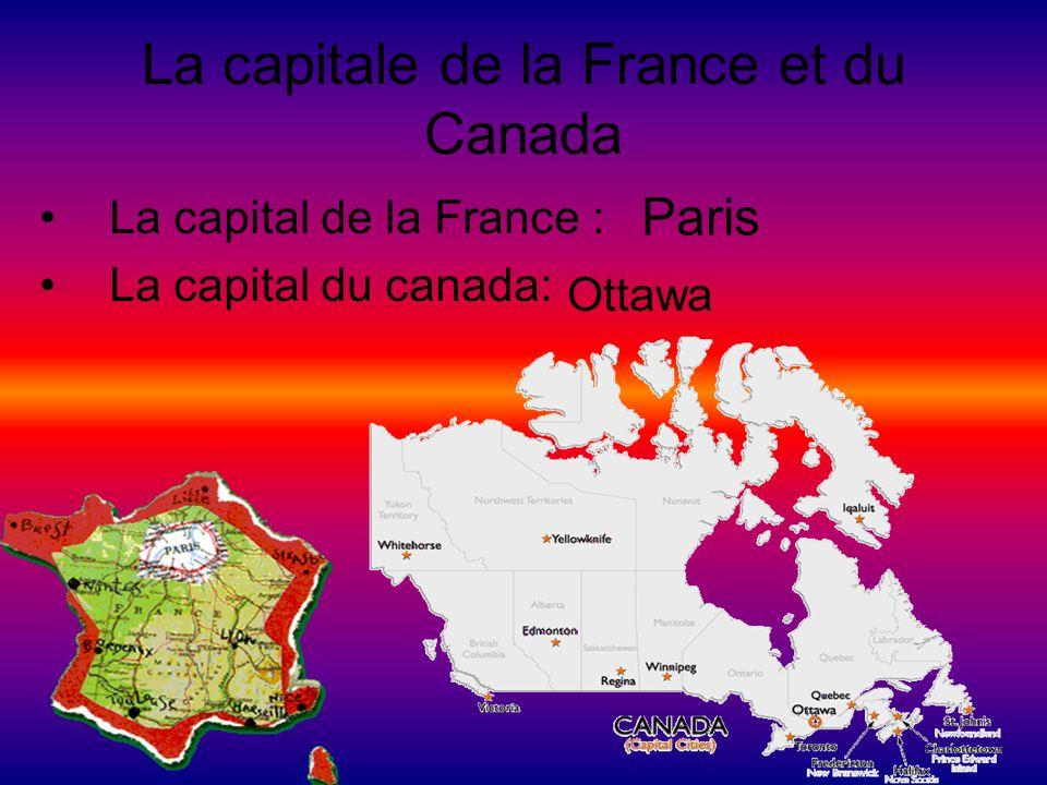 La capitale de la France et du Canada La capital de la France : La capital du canada: Paris Ottawa