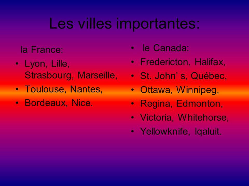 Les villes importantes: la France: Lyon, Lille, Strasbourg, Marseille, Toulouse, Nantes, Bordeaux, Nice. le Canada: Fredericton, Halifax, St. John s,
