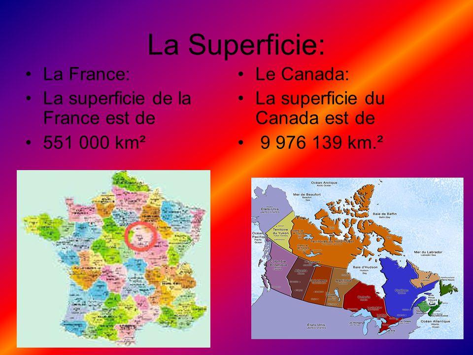 La Superficie: La France: La superficie de la France est de 551 000 km² Le Canada: La superficie du Canada est de 9 976 139 km.²