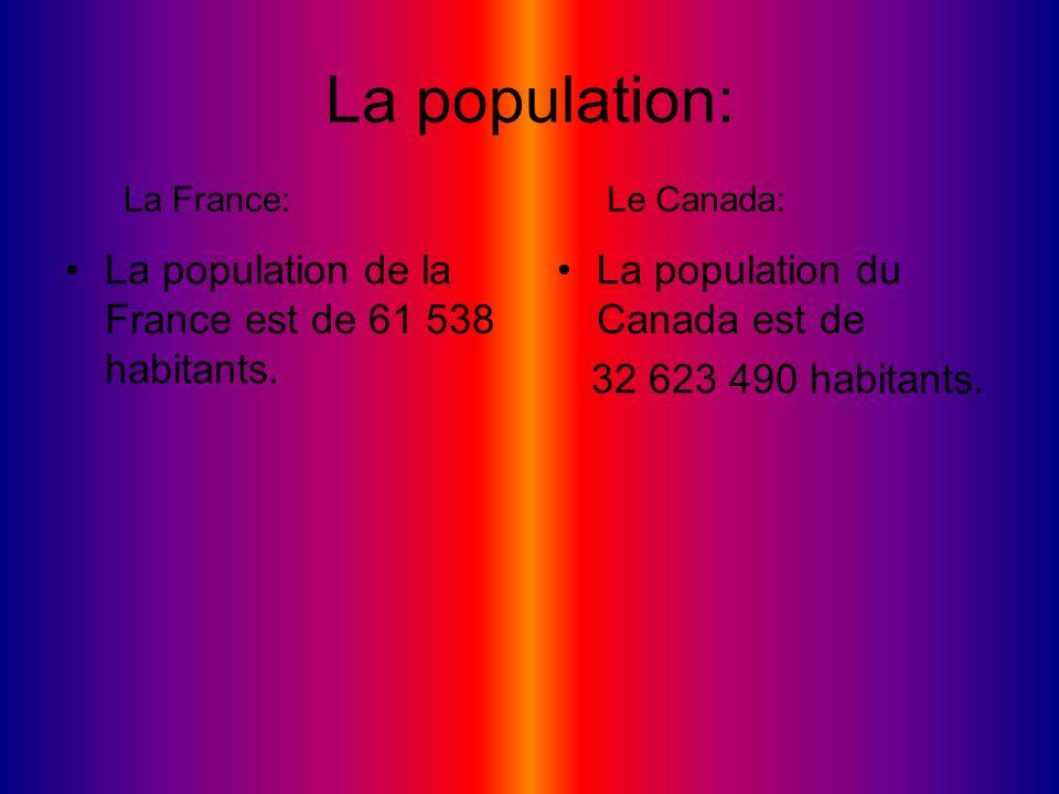 La population: La population de la France est de 61 538 habitants. La population du Canada est de 32 623 490 habitants. La France:Le Canada: