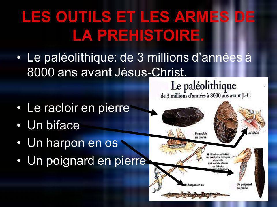 LES OUTILS ET LES ARMES DE LA PREHISTOIRE. Le paléolithique: de 3 millions dannées à 8000 ans avant Jésus-Christ. Le racloir en pierre Un biface Un ha
