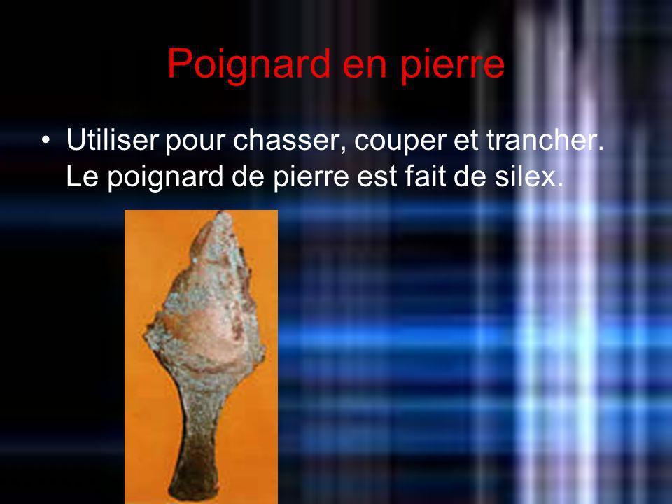 Poignard en pierre Utiliser pour chasser, couper et trancher. Le poignard de pierre est fait de silex.