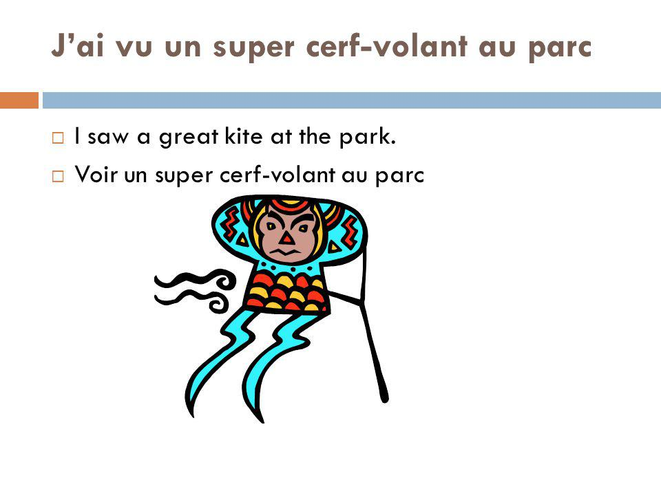 Jai vu un super cerf-volant au parc I saw a great kite at the park.