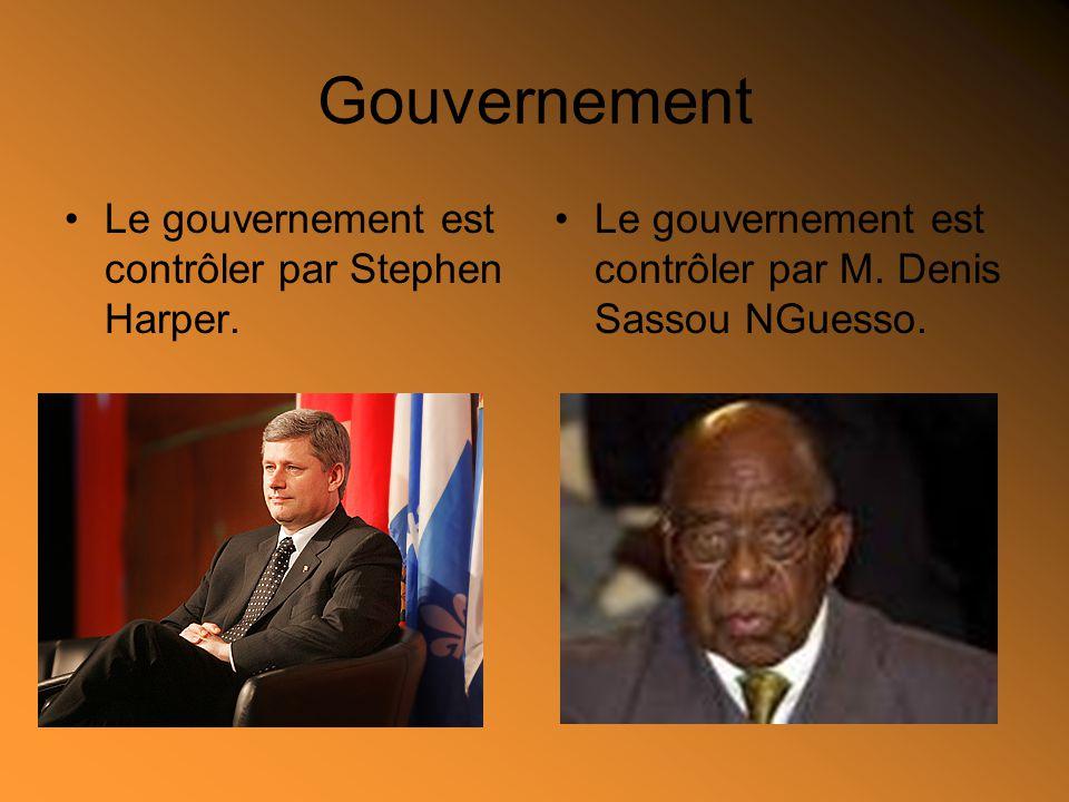 Gouvernement Le gouvernement est contrôler par Stephen Harper. Le gouvernement est contrôler par M. Denis Sassou NGuesso.