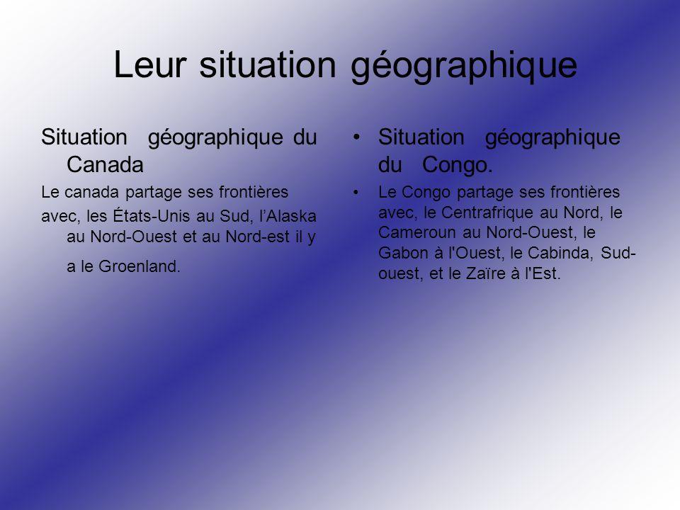 Leur situation géographique Situation géographique du Canada Le canada partage ses frontières avec, les États-Unis au Sud, lAlaska au Nord-Ouest et au