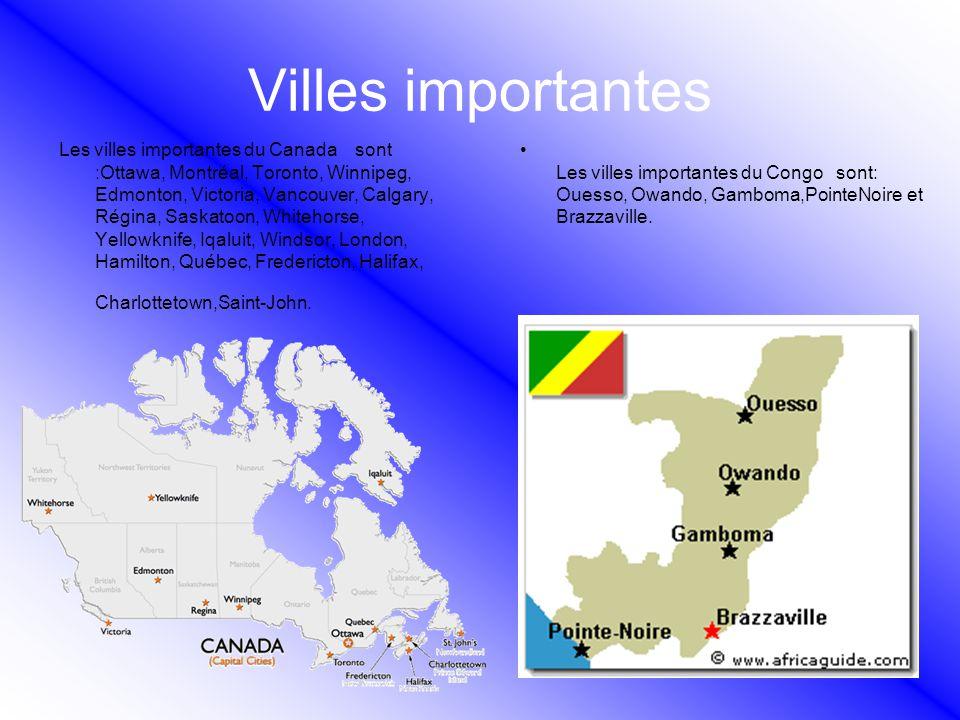 Villes importantes Les villes importantes du Canada sont :Ottawa, Montréal, Toronto, Winnipeg, Edmonton, Victoria, Vancouver, Calgary, Régina, Saskato