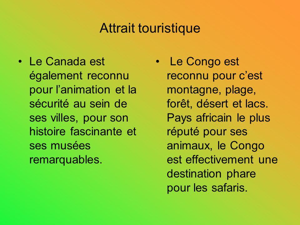 Attrait touristique Le Canada est également reconnu pour lanimation et la sécurité au sein de ses villes, pour son histoire fascinante et ses musées r