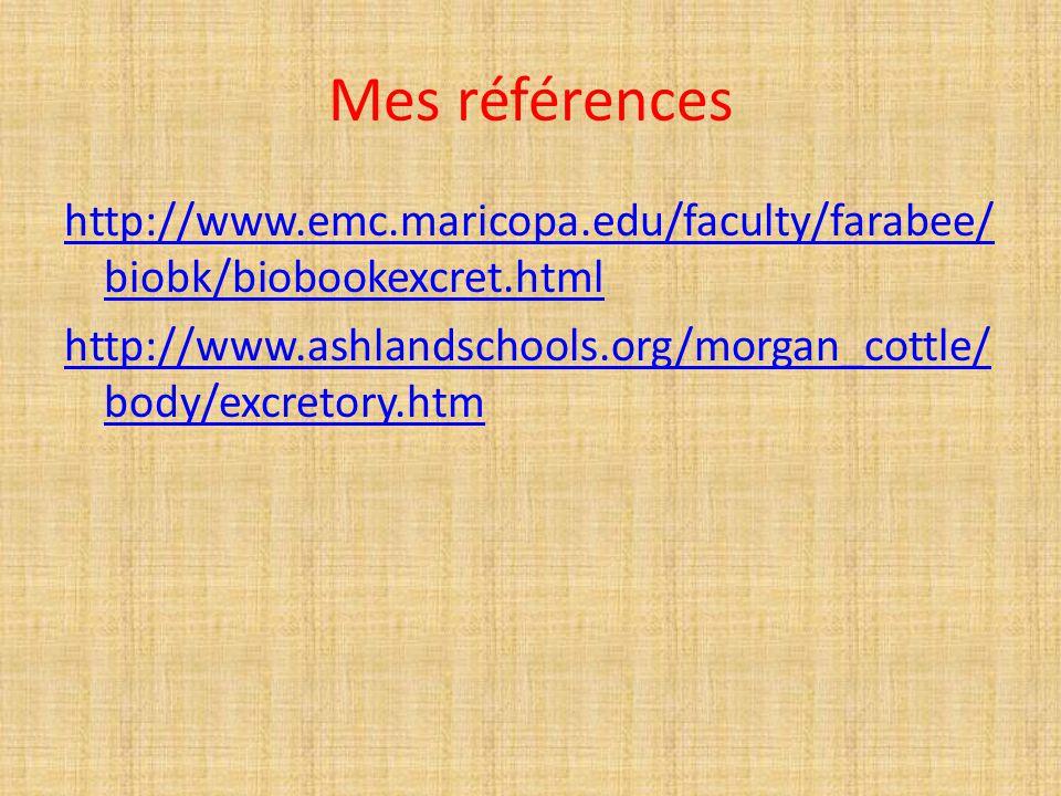 Mes références http://www.emc.maricopa.edu/faculty/farabee/ biobk/biobookexcret.html http://www.ashlandschools.org/morgan_cottle/ body/excretory.htm
