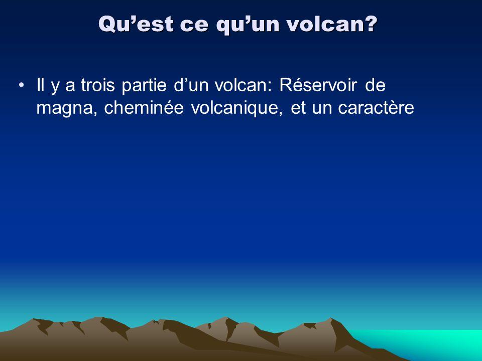 Quest ce quun volcan? Il y a trois partie dun volcan: Réservoir de magna, cheminée volcanique, et un caractère